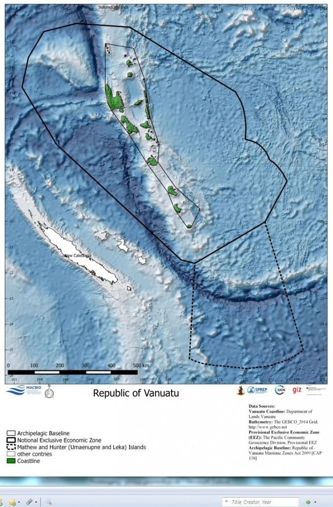 Vanuatu Bathymetry Map